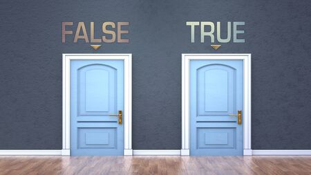 False and true as a choice - pictured as words False, true on doors to show that False and true are opposite options while making decision, 3d illustration