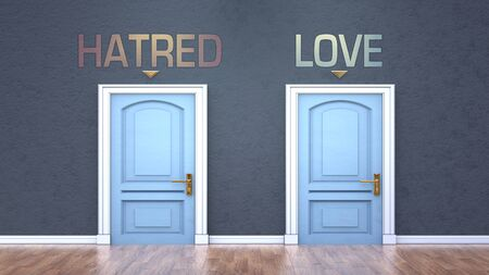 Hatred and love as a choice - pictured as words Hatred, love on doors to show that Hatred and love are opposite options while making decision, 3d illustration 版權商用圖片