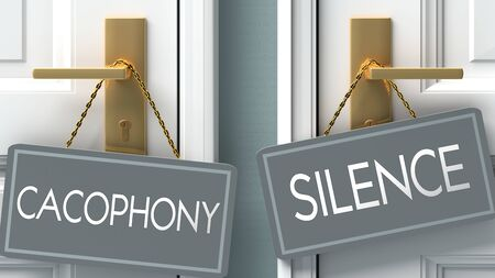 silence or cacophony as a choice in life - pictured as words cacophony, silence on doors to show that cacophony and silence are different options to choose from, 3d illustration