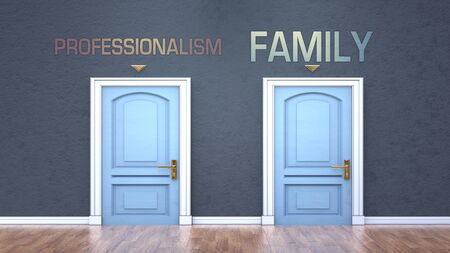 Professionalism and family as a choice - pictured as words Professionalism, family on doors to show that Professionalism and family are opposite options while making decision, 3d illustration