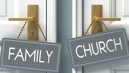 church or family as a choice in life - pictured as words family, church on doors to show that family and church are different options to choose from, 3d illustration