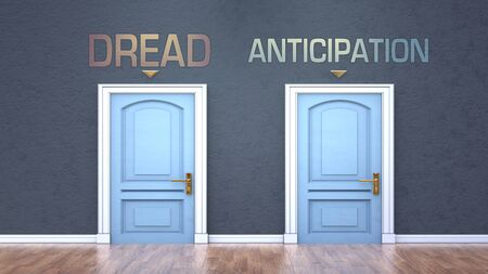 Dread and anticipation as a choice - pictured as words Dread, anticipation on doors to show that Dread and anticipation are opposite options while making decision, 3d illustration