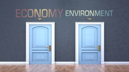Economy and environment as a choice - pictured as words Economy, environment on doors to show that Economy and environment are opposite options while making decision, 3d illustration
