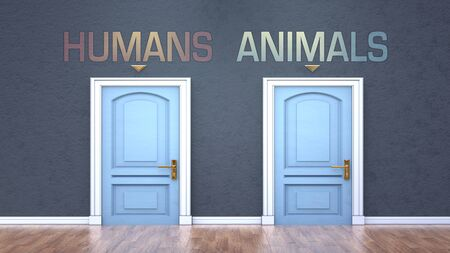 Humans and animals as a choice - pictured as words Humans, animals on doors to show that Humans and animals are opposite options while making decision, 3d illustration
