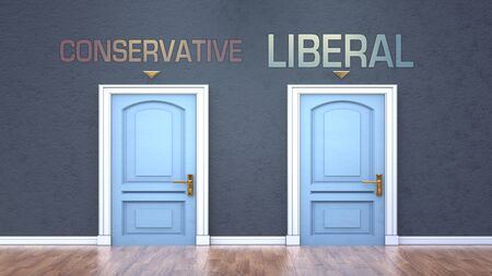 Conservative and liberal as a choice - pictured as words Conservative, liberal on doors to show that Conservative and liberal are opposite options while making decision, 3d illustration 版權商用圖片