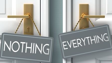 everything or nothing as a choice in life - pictured as words nothing, everything on doors to show that nothing and everything are different options to choose from, 3d illustration 版權商用圖片