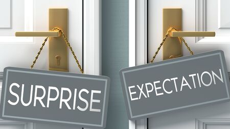 expectation or surprise as a choice in life - pictured as words surprise, expectation on doors to show that surprise and expectation are different options to choose from, 3d illustration 版權商用圖片