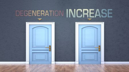 Degeneration and increase as a choice - pictured as words Degeneration, increase on doors to show that Degeneration and increase are opposite options while making decision, 3d illustration