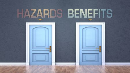 Hazards and benefits as a choice - pictured as words Hazards, benefits on doors to show that Hazards and benefits are opposite options while making decision, 3d illustration
