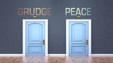 Grudge and peace as a choice - pictured as words Grudge, peace on doors to show that Grudge and peace are opposite options while making decision, 3d illustration