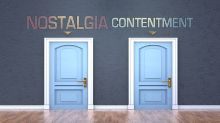 Nostalgia and contentment as a choice - pictured as words Nostalgia, contentment on doors to show that Nostalgia and contentment are opposite options while making decision, 3d illustration