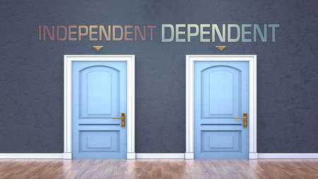 Independent and dependent as a choice - pictured as words Independent, dependent on doors to show that Independent and dependent are opposite options while making decision, 3d illustration Imagens