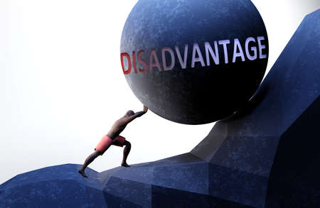 Disadvantage as a problem that makes life harder - symbolized by a person pushing weight with word Disadvantage to show that Disadvantage can be a burden that is hard to carry, 3d illustration Banco de Imagens