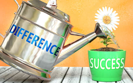 Difference helps achieving success - pictured as word Difference on a watering can to symbolize that Difference makes success grow and it is essential for profit in life and business, 3d illustration
