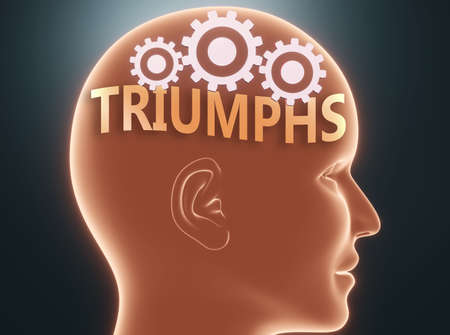 Triumphs inside human mind - pictured as word Triumphs inside a head with cogwheels to symbolize that Triumphs is what people may think about and that it affects their behavior, 3d illustration Фото со стока