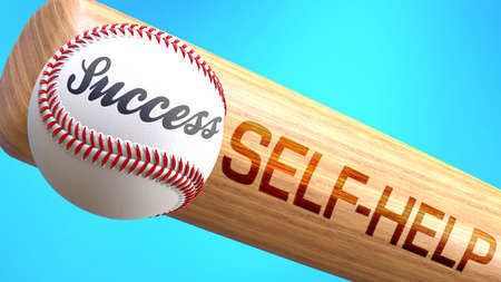 Success in life depends on self help - pictured as word self help on a bat, to show that self help is crucial for successful business or life., 3d illustration