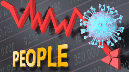 Covid virus and people, symbolized by a price stock graph falling down, the virus and word people to picture that corona outbreak impacts people in a negative way, 3d illustration 版權商用圖片