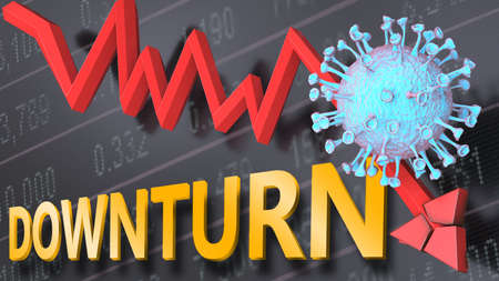 Covid virus and downturn, symbolized by a price stock graph falling down, the virus and word downturn to picture that corona outbreak impacts downturn in a negative way, 3d illustration 版權商用圖片