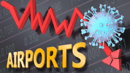 Covid virus and airports, symbolized by a price stock graph falling down, the virus and word airports to picture that corona outbreak impacts airports in a negative way, 3d illustration