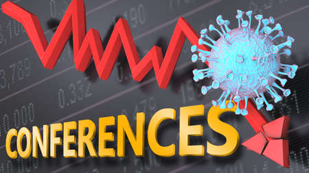 Covid virus and conferences, symbolized by a price stock graph falling down, the virus and word conferences to picture that corona outbreak impacts conferences in a negative way, 3d illustration