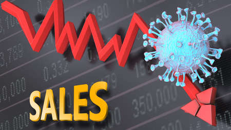 Covid virus and sales, symbolized by a price stock graph falling down, the virus and word sales to picture that corona outbreak impacts sales in a negative way, 3d illustration