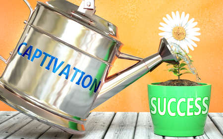 Captivation helps achieve success - pictured as word Captivation on a watering can to show that it makes success to grow and it is essential for profit in life, 3d illustration 免版税图像