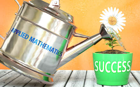 Applied mathematics helps achieve success - pictured as word Applied mathematics on a watering can to show that it makes success to grow and it is essential for profit in life, 3d illustration Stock fotó