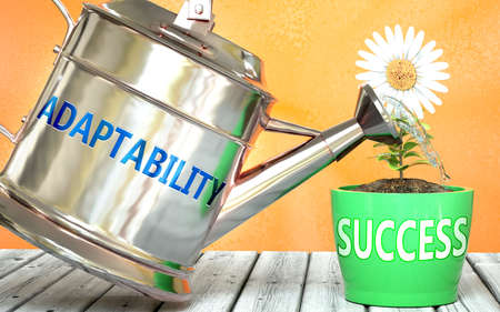 Adaptability helps achieve success - pictured as word Adaptability on a watering can to show that it makes success to grow and it is essential for profit in life, 3d illustration