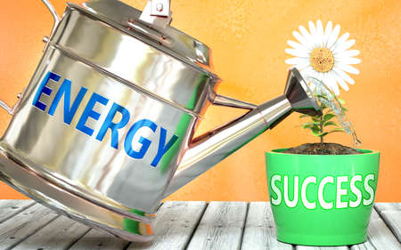 Energy helps achieving success - pictured as word Energy on a watering can to symbolize that Energy makes success grow and it is essential for profit in life and business, 3d illustration