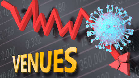 Covid virus and venues, symbolized by a price stock graph falling down, the virus and word venues to picture that corona outbreak impacts venues in a negative way, 3d illustration