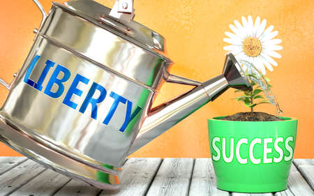 Liberty helps achieving success - pictured as word Liberty on a watering can to symbolize that Liberty makes success grow and it is essential for profit in life and business, 3d illustration 免版税图像