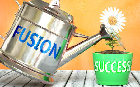 Fusion helps achieving success - pictured as word Fusion on a watering can to symbolize that Fusion makes success grow and it is essential for profit in life and business, 3d illustration 免版税图像