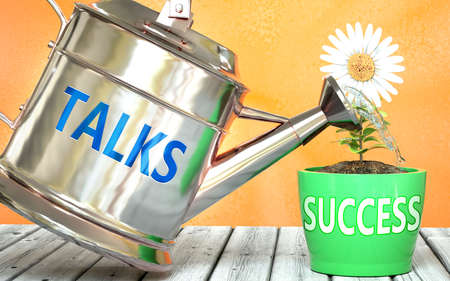 Talks helps achieving success - pictured as word Talks on a watering can to symbolize that Talks makes success grow and it is essential for profit in life and business, 3d illustration 免版税图像