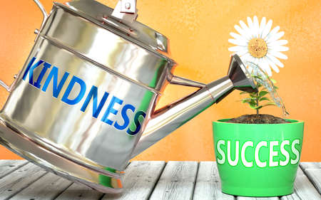 Kindness helps achieving success - pictured as word Kindness on a watering can to symbolize that Kindness makes success grow and it is essential for profit in life and business, 3d illustration
