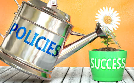 Policies helps achieving success - pictured as word Policies on a watering can to symbolize that Policies makes success grow and it is essential for profit in life and business, 3d illustration