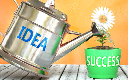 Idea helps achieving success - pictured as word Idea on a watering can to symbolize that Idea makes success grow and it is essential for profit in life and business, 3d illustration 免版税图像