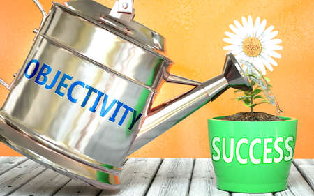 Objectivity helps achieve success - pictured as word Objectivity on a watering can to show that it makes success to grow and it is essential for profit in life, 3d illustration