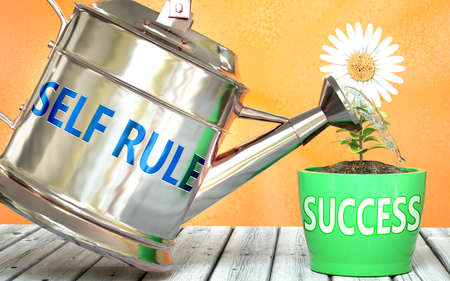 Self rule helps achieving success - pictured as word Self rule on a watering can to symbolize that Self rule makes success grow and it is essential for profit in life and business, 3d illustration