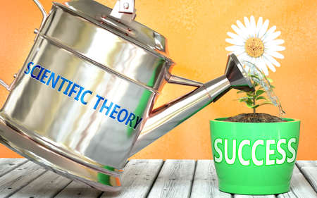 Scientific theory helps achieve success - pictured as word Scientific theory on a watering can to show that it makes success to grow and it is essential for profit in life, 3d illustration 免版税图像
