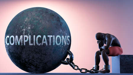 Complications as a heavy weight in life - symbolized by a person in chains attached to a prisoner ball to show that Complications can cause suffering, 3d illustration