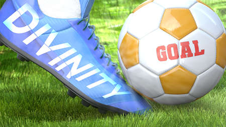 Divinity and a life goal - pictured as word Divinity on a football shoe to symbolize that Divinity can impact a goal and is a factor in success in life and business, 3d illustration
