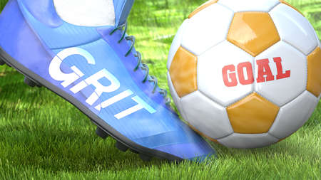 Grit and a life goal - pictured as word Grit on a football shoe to symbolize that Grit can impact a goal and is a factor in success in life and business, 3d illustration Stock Photo