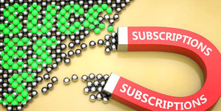 Subscriptions attracts success - pictured as word Subscriptions on a magnet to symbolize that Subscriptions can cause or contribute to achieving success in work and life, 3d illustration