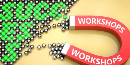 Workshops attracts success - pictured as word Workshops on a magnet to symbolize that Workshops can cause or contribute to achieving success in work and life, 3d illustration Foto de archivo