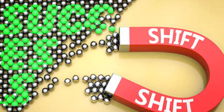 Shift attracts success - pictured as word Shift on a magnet to symbolize that Shift can cause or contribute to achieving success in work and life, 3d illustration