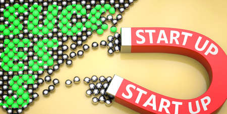 Start up attracts success - pictured as word Start up on a magnet to symbolize that Start up can cause or contribute to achieving success in work and life, 3d illustration