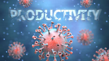 Covid and productivity, pictured as red viruses attacking word productivity to symbolize turmoil, global world problems and the relation between corona virus and productivity, 3d illustration