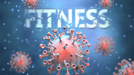 Covid and fitness, pictured as red viruses attacking word fitness to symbolize turmoil, global world problems and the relation between corona virus and fitness, 3d illustration