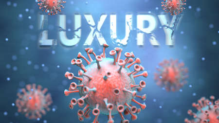 Covid and luxury, pictured as red viruses attacking word luxury to symbolize turmoil, global world problems and the relation between corona virus and luxury, 3d illustration Foto de archivo
