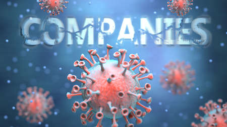 Covid and companies, pictured as red viruses attacking word companies to symbolize turmoil, global world problems and the relation between corona virus and companies, 3d illustration